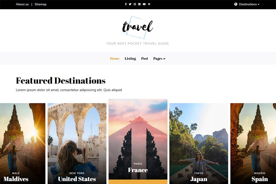 Bootstrap Travel Blog Template